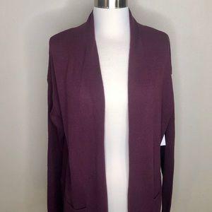 Dark Purple Open Front Long cardigan sweater